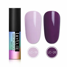 2 Bottles 5ml Soak Off UV Gel Nail Polish Purple Manicure Gel Nails LILYCUTE Kit