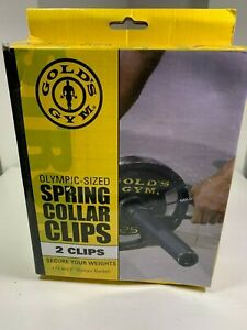 """Gold's Gym 2 Olympic-Sized Spring Collar Clips Fits 2"""" Olympic Barbells (NEW)"""