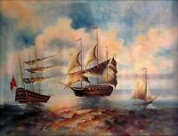 Stretched Hand Painted Oil Painting Great Britain Armada 36x48in
