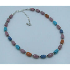 .925 Sterling Silver Natural Blue Turquoise Denim Lapis Coral Rhodonite Necklace