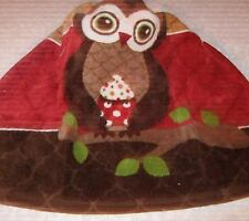 Crochet Kitchen Hanging Towel, Large owl, Ritz design, Burgundy top