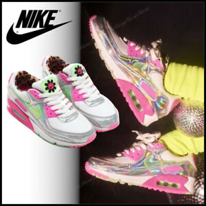 Nike Air Max 90 LX Trainers Unisex IRIDESCENT Pink Animal Print