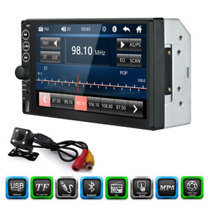 Double 2Din 7in Bluetooth Car Stereo Radio FM/AUX/USB/TF MP5 Player +4LED Camera