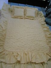 Vintage  Yellow Quilted Top Twin Bedspread/skirt/2 square/1bolster pillows 5PCS