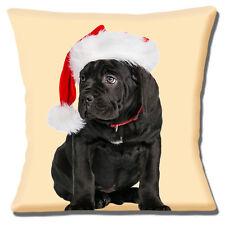 "BLACK LABRADOR PUPPY CHRISTMAS SANTA HAT PHOTO PRINT  16"" Pillow Cushion Cover"