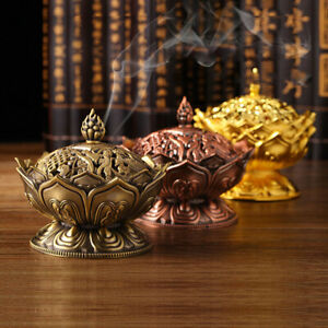 Antique Metal Lotus Tibet Decor Chinese Incense Burner Fire Resistant Mat /& Brass Stick Holder Crescendo /& Co Golden Tibetan Incense Burner Holder for Sticks Cones Coils