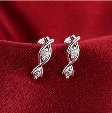Infinity Ear Stud Earrings #E37 Womens Sterling Silver Cz Crystal