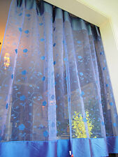 Stock Clearance @ Dainty Trail Flower Embroidery Sheer Satin Patch Curtain Long