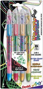 Pentel Krazy Pop Iridescent Gel Pen 1mm 4/Pkg-Assorted