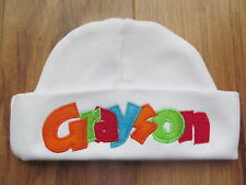 PERSONALIZED MONOGRAM CUSTOM Baby Newborn Hospital Hat Rainbow Applique Letters