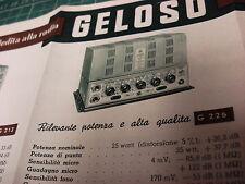 CATALOGO BROCURE GELOSO AMPLIFICATORE MICROFONO GIRADISCHI RADIO VALVOLA 1954