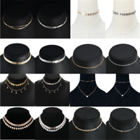 Gold Silver Gothic Women Sequins Beads Choker Necklace Simple Chain Collar HOT