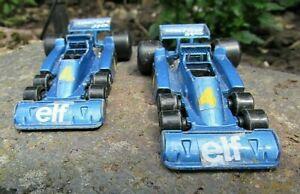 2 Vintage Polistil RJ57 - Tyrrell 34/2 Double Front Axle F1 Cars - Decent 4 Age