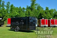 NEW 6x12 6 x 12 V-Nose Enclosed Cargo Trailer w/ RAMP & BLACK OUT PACKAGE