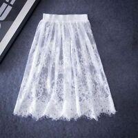 Fashion Black High Waist Hollow Out Knee Length Women Skirts Summer A-Line