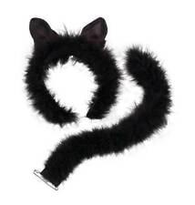 CAT SET - EARS & TAIL, FUR, CATWOMAN, HALLOWEEN FANCY DRESS COSTUME ACCESSORIES