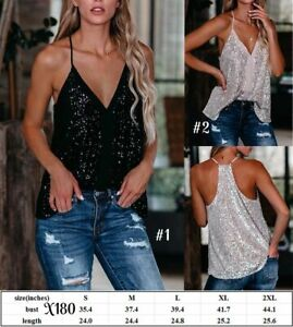 Women's Sleeveless Sequined Vest - V-Neck - Going Out Top