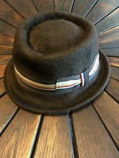 Paul Smith Brown Felt Trilby Porkpie Hat with Grosgrain Ribbon sz Medium