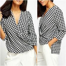 Womens Office Mono Black White Wrap Top Long Sleeve Check V Neck Plunge Blouse