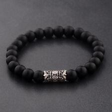 CZ Crown Natural Black Matte Agate Gemstone Silver Plated Beads Bracelets Gift