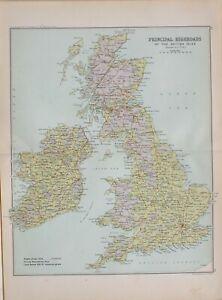 1901 CENSUS MAP BRITISH ISLES PRINCIPAL HIGHROADS LONDON ENGLAND IRELAND PRESTON