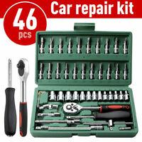 "46PCS Socket Spanner Tool Kit Ratchet Wrench Set METRIC/SAE 1/4"" Drive w/Case US"