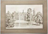 Schloss mit englischem Landschaftspark und See, lavierte Federzeichnung um 1850