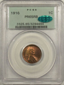 1916 MATTE PROOF LINCOLN CENT - PCGS PR-65 RB, OGH PREMIUM QUALITY! CAC APPROVED