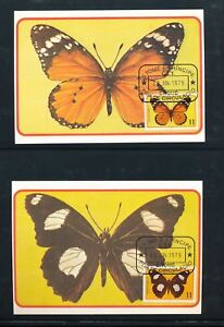 ST TOME PRINCIPE THOMAS 1979 Butterflies Maxi Cards Used x 6 (D355