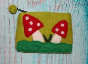 Fair Trade Hippy Boho Multi-Coloured Felt Mushroom Wallet / Purse From Nepal