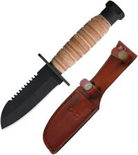 "Ontario OKC Journeyman Fixed Knife 4"" Carbon Steel Blade Leather Handle 6155"