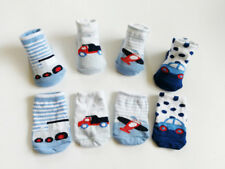 4 Pack NEW BORN Boy Infant Baby Socks 0-6 Month Car Plane Trunk Pattern Design
