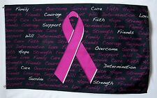 Breast Cancer Pink Ribbon Inscriptions Flag 3' X 5' Indoor Outdoor Hope Banner