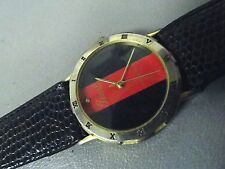 "Pearl black and red goldtone ladies watch 8"" leather band new battery runs perf"