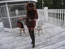 Mint Brown Fox Fur Vest Sleeveless Coat + hat + Bag S-M