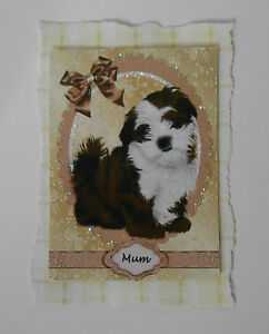 PK 2 SHIHTZU PUPPY MUM TOPPER  EMBELLISHMENT FOR CARDS OR CRAFTS ***