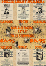 6 GANGSTER WANTED POSTERS DILLINGER CAPONE FBI MAFIA BABY FACE PUBLIC ENEMY