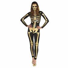 Adult Ladies Golden Skeleton 24 Carat Bones Costume Halloween Fancy Size 14-16
