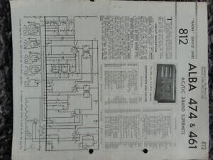 Alba 474 461 AC DC 3 Band Super Het Table Receiver radio Service manual