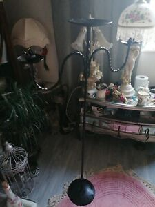Vintage Tall Floor Twisted Gothic Black Candle Holder Candelabra Wrought Iron