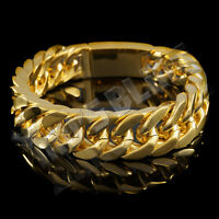 18K Gold Plated CUBAN Miami Chain Link Stainless Steel MEN Womens Bracelet 14mm