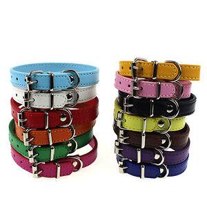 JW_ KQ_ Leather Pure Color Cute Dog Pet Cat Puppy Collar Neck Buckle Adjustabl