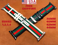 Gucci Stripe Pattern Sport Replacement Leather Watch Band Strap For Apple Watch