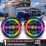 "Color Change RGB 7"" LED Halo Headlights Angel Eyes for Toyota Land Cruiser 79-87"