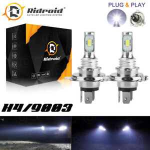 Pair H4 9003 HB2 LED Bulb Hi/Lo Beam White Motorcycle Headlight High Power 40W