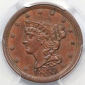 1849 PCGS MS 63 BN Braided Hair Half Cent Coin 1/2c