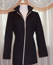 ELLEN TRACY LONG FAB BLAZER/JACKET FAB COMBINATION OF BLACK AND WHITE DETAIL, BE