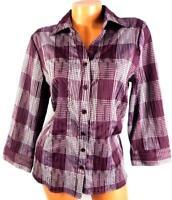 Croft & barrow purple white plaid textured 3/4 cuff sleeve button down top XL
