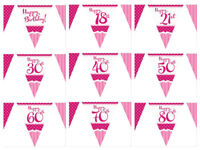 Perfectly Pink Happy Birthday Party Flag Bunting Banner 18th 21st 30th 40th 50th