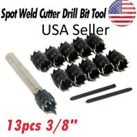 """13pcs Double Sided 3/8"""" Rotary Spot Weld Cutter Remover Drill Bits Cut Welds Kit"""